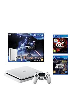 playstation-4-slim-500gbnbspconsole-white-bundle-with-star-wars-battlefront-2nbspgran-turismo-sport-and-hidden-agenda
