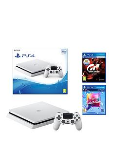 playstation-4-500gb-glacier-white-console-with-gran-turismo-sport-and-singstar-celebration-plusnbspoptional-controller-andor-12-months-psn-subscription