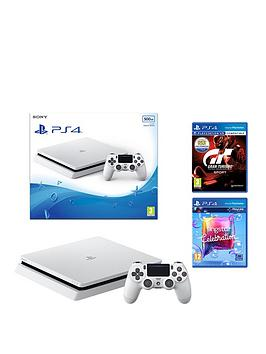 Image of Playstation 4 500Gb Glacier White Console With Gran Turismo Sport And Singstar Celebration Plus Optional Controller And/Or 12 Months Psn Subscription - Ps4 500Gb Console With Gran Turismo Sport, Sings