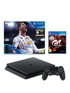 playstation-4-slimnbsp1tbnbspblacknbspconsolenbspbundle-with-fifanbsp18-and-gran-turismo-sport-plus-optional-extra-controller-andor-12-months-playstation-network
