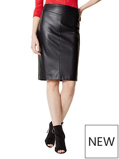 karen-millen-faux-leather-skirt-black