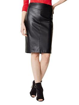 karen-millen-faux-leather-skirt-black