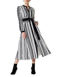 karen-millen-graphic-stripe-midi-dress-blackwhite