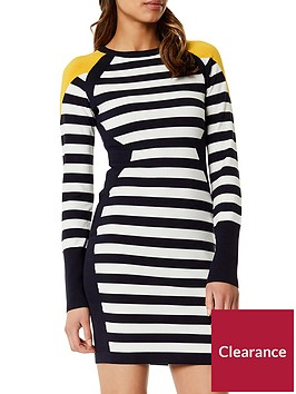 karen-millen-bold-stripe-knit-dress-navy