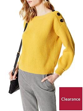 karen-millen-jumbo-button-jumper-mustard