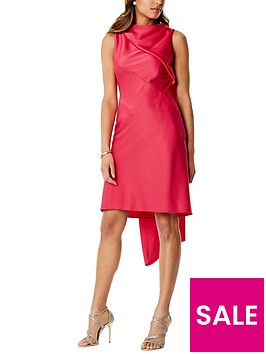 karen-millen-shift-dress-with-train-pink