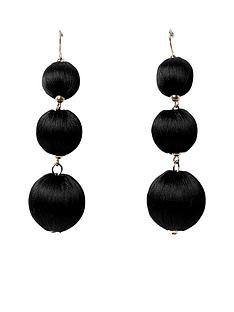 river-island-triple-orb-earring--black