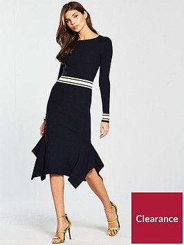 karen-millen-bold-stripe-rib-knit-dress-blue