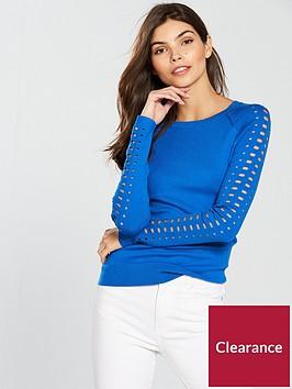 karen-millen-sporty-cutwork-jumper-blue