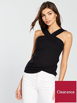 karen-millen-cross-halter-jersey-top