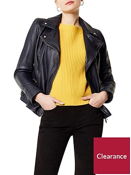 karen-millen-washed-leather-biker-jacket-navy