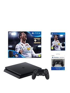 Image of Playstation 4 Slim 500Gb Console With Fifa 18 Plus Optional Extra Controller And/Or 12 Months Playstation Network - Ps4 500Gb Fifa 18 Console With Additional Dualshock Controller