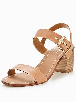 Dune London Jany Wide Fit Block Heel Stacked Sandal - Tan