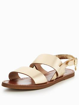 Dune London Lowpez Wide Fit Double Strap Flat Sandals
