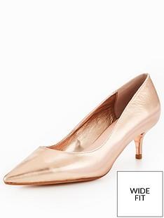 28cd0f1f168d Dune London Alesandra Wide Fit Kitten Heel Court Shoe - Rose Gold