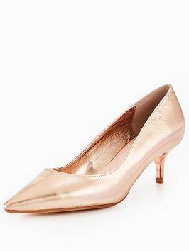 Dune London Alesandra Wide Fit Kitten Heel Court Shoe - Rose Gold