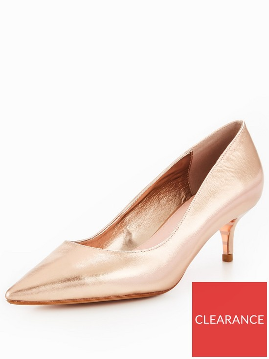 1410d3ef31b Dune London Alesandra Wide Fit Kitten Heel Court Shoe - Rose Gold ...