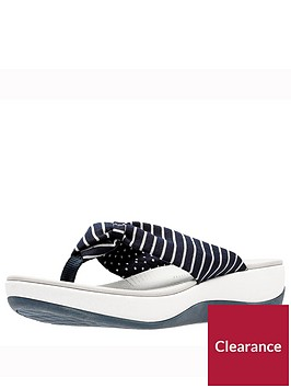 clarks-arla-glison-flip-flop-low-wedge-sandal-navy