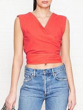 joes-jeans-luliana-wrap-sleeveless-blouse-red