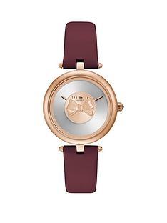 ted-baker-bow-dial-rose-gold-case-burgundy-leather-strap-ladies-watch