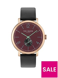 ted-baker-burgundy-dial-rose-gold-tone-case-black-leather-strap-mens-watch