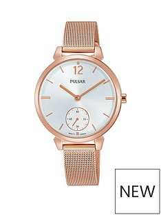 pulsar-rose-gold-plated-stainless-steel-case-and-mesh-bracelet-ladies-watch