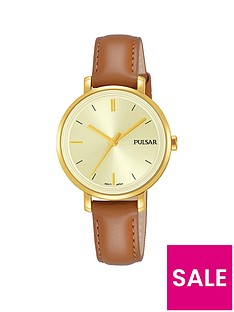 pulsar-champagne-dial-tan-leather-strap-ladies-watch