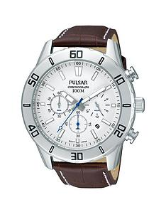 pulsar-mens-chronograph-watch-with-a-stainless-steel-case-and-brown-leather-strap-featuring-a-white-dial