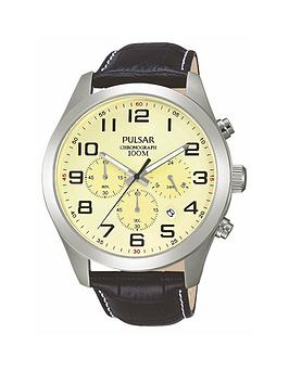 Photo of Pulsar mens chronograph watch with a stainless steel case and black leather strap featuring a cream dial