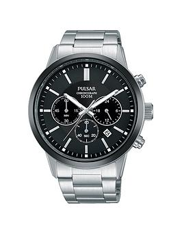 pulsar-pulsar-men039s-chronograph-watch-with-a-stainless-steel-case-and-bracelet-featuring-a-black-dial
