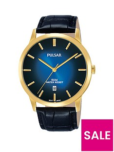 pulsar-pulsar-men039s-analogue-watch-with-a-gold-plated-stainless-steel-case-and-black-leather-strap-featuring-a-blue-to-black-dial
