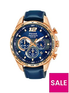 pulsar-pulsar-men039s-solar-chronograph-watch-with-a-rose-gold-plated-stainless-steel-case-and-blue-leather-strap-featuring-a-blue-dial
