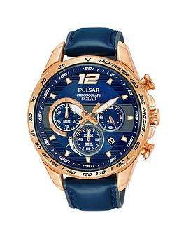 pulsar-pulsar-mens-solar-chronograph-watch-with-a-rose-gold-plated-stainless-steel-case-and-blue-leather-strap-featuring-a-blue-dial
