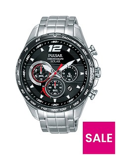 pulsar-pulsar-men039s-solar-chronograph-watch-with-a-stainless-steel-case-and-bracelet-featuring-a-black-dial