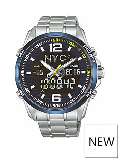 pulsar-pulsar-men039s-duo-display-analogue-and-digital-world-time-watch-with-a-stainless-steel-case-and-bracelet-featuring-a-blue-dial