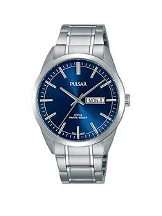 pulsar-pulsar-men039s-analogue-watch-with-a-stainless-steel-case-and-bracelet-featuring-a-blue-dial