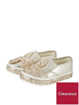 monsoon-monsoon-baby-girls-knot-bow-glitter-slip-on-plimsoll