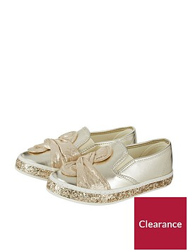 monsoon-monsoon-girls-knot-bow-glitter-slip-on-plimsoll