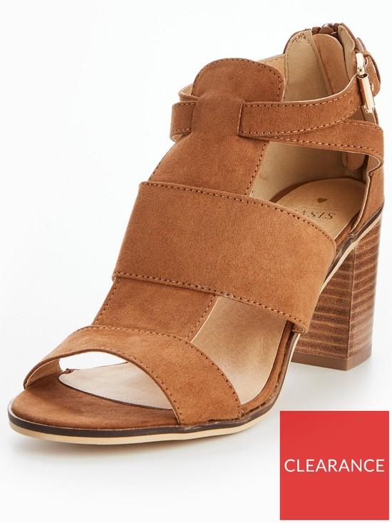0fbccc73f592ab Oasis Cut-Out Block Heel Sandal - Tan