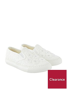 monsoon-monsoon-girls-lace-flower-slip-on-plimsoll