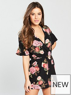 ax-paris-petite-wrap-front-printed-playsuit-black-floral