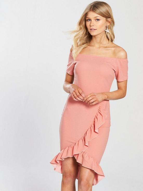 e50fd330fda1 AX Paris PETITE Off The Shoulder Frill Front Bodycon Dress - Blush ...