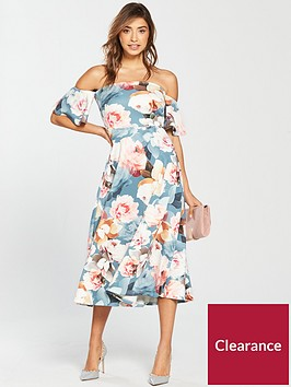 v-by-very-frill-sleeve-bardot-printed-prom-dress