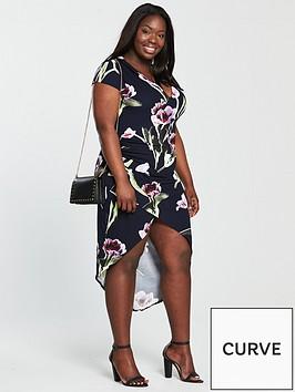 ax-paris-curve-capped-sleeve-wrap-floral-dress