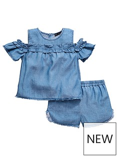 mini-v-by-very-girls-cold-shoulder-tencel-top-and-short-set