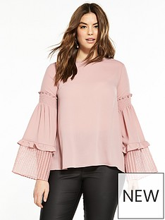lost-ink-curve-top-with-shirred-sleeve-in-fabric-mix-blush