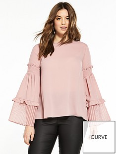 lost-ink-plus-top-with-shirred-sleeve-in-fabric-mix-blush