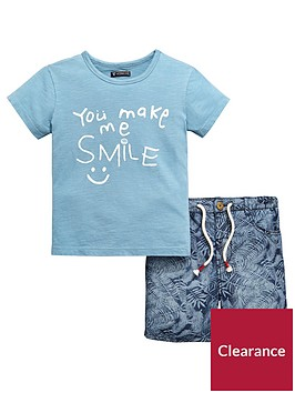 mini-v-by-very-boys-2-piece-smile-slogan-tee-and-short-set-blue