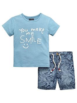 mini-v-by-very-boys-smile-slogan-tee-and-short-set