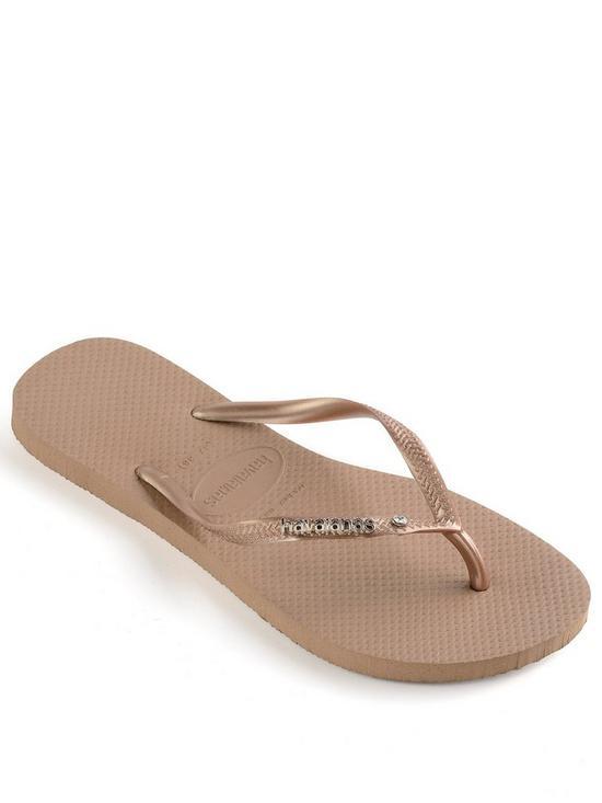 00f3dec60c43 Havaianas Slim Metal Logo   Crystal Flip Flop Sandal - Rose Gold ...